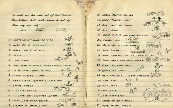 These beautiful resolutions (1943) from Woody Guthrie are damned good advice.